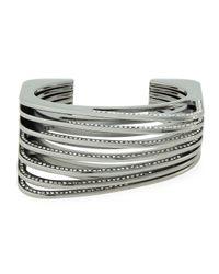 Vita Fede - Gray Futturo Segmented Gunmetal Crystal Cuff Bracelet - Lyst