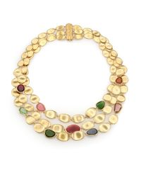 Marco Bicego | Metallic Lunaria Multicolor Tourmaline & 18k Yellow Gold Three-strand Bib Necklace | Lyst