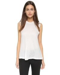 T By Alexander Wang - White Classic High Neck Flared Tank - Lyst
