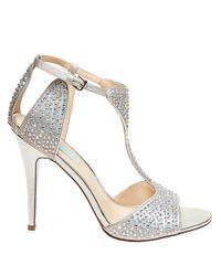 Betsey Johnson | Metallic I Do Rhinestone Embellished Evening Sandals | Lyst