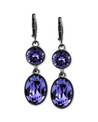 Givenchy | Purple Hematitetone Swarovski Tanzanite Crystal Double Drop Earrings | Lyst