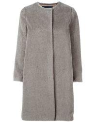 'S Max Mara - Gray Single Breasted Short Coat - Lyst