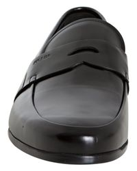 Prada - Black Patent Leather Penny Loafers for Men - Lyst