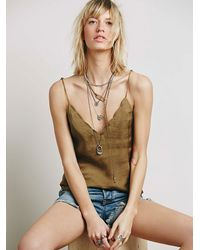 Free People | Green Scallop Edge Cami | Lyst