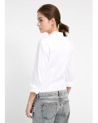 Mango - White Stretch Cotton Shirt - Lyst