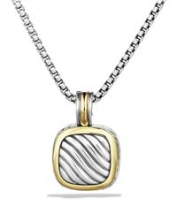 David Yurman | Metallic Sculpted Cable Small Square Pendant With Gold | Lyst