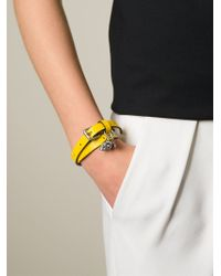 Alexander McQueen - Yellow Double Wrap Skull Bracelet - Lyst