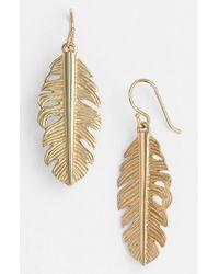 Melinda Maria | Metallic Feather Drop Earrings | Lyst