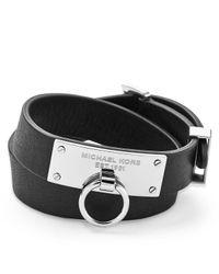 Michael Kors - Black Logo Plaque Double Wrap Leather Bracelet - Lyst
