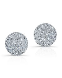 Anne Sisteron | 14kt White Gold Diamond Disc Stud Earrings | Lyst