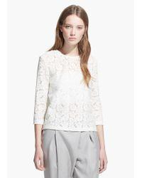 Mango - White Floral Lace T-Shirt - Lyst
