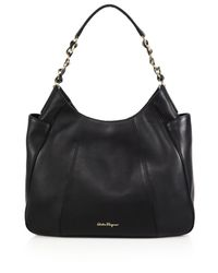 Ferragamo - Black Elle Leather Hobo Bag - Lyst
