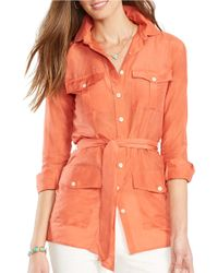 Lauren by Ralph Lauren | Orange Cotton-silk Tunic | Lyst