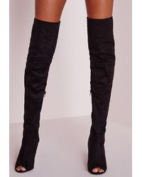 Missguided - Peace + Love Over The Knee Peep Toe Boots Black - Lyst
