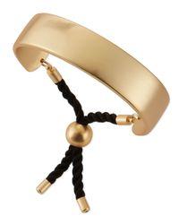 Jules Smith - Metallic Wide Matte Golden Bar & Rope Cuff - Lyst