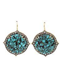 Sylva & Cie | Blue 'kingman' Diamond Drop Earrings | Lyst