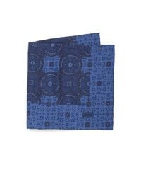 Brioni | Blue Paisley & Plaid Silk Pocket Square for Men | Lyst