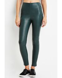 Forever 21 | Green Faux Leather Leggings | Lyst