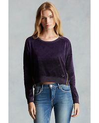 True Religion | Purple Moto Zip Velour Womens Sweatshirt | Lyst