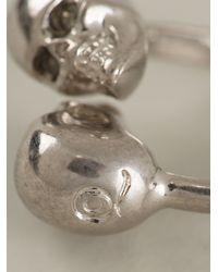 Alexander McQueen - Metallic Double Skull Ring - Lyst