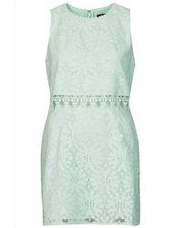 TOPSHOP - Green Wheel Lace Crop Overlay Dress - Lyst
