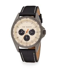 Ted Baker | Black Stainless Steel & Embossed Leather Strap Chronograph Watch | Lyst