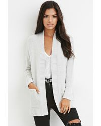 Forever 21 - Gray Open-front Cardigan - Lyst