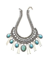 DANNIJO - Blue 'costella' Frontal Necklace - Turquoise/ Silver - Lyst