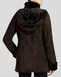 Maximilian | Brown Maximilian Stand Collar Shearling Lamb Coat With Leather Trim | Lyst