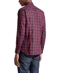 Ted Baker - Red Fulstop Ombré Checked Shirt for Men - Lyst