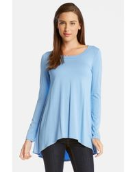 Karen Kane | Blue High/low Long Sleeve Tunic Top | Lyst
