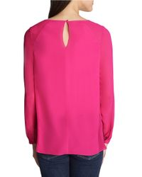 1.STATE - Pink Keyhole Blouse - Lyst