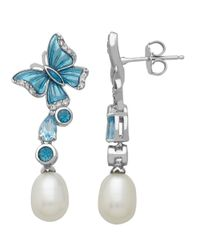 Lord & Taylor | Sterling Silver Blue And White Topaz Freshwater Pearl Drop Earrings | Lyst
