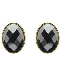 Monet | Black Hematite Oval Stud Earrings | Lyst