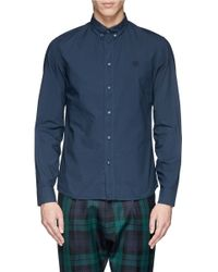 KENZO - Blue Tiger Logo Button Down Collar Shirt for Men - Lyst