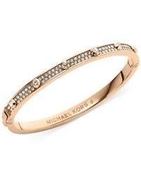 Michael Kors | Metallic Rose Gold-Tone Crystal Hinge Bangle Bracelet | Lyst