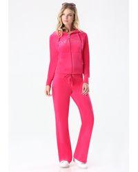 Bebe - Pink Velour Hoodie - Lyst