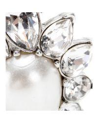 Ben-Amun Metallic Silverplated Swarovski Crystal and Fauxpearl Clipon Earrings