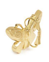 Kenneth Jay Lane | Metallic Crystal Pavé Butterfly Drop Earrings | Lyst