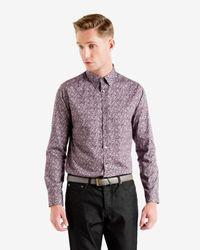 Ted Baker | Purple Floral Print Shirt for Men | Lyst