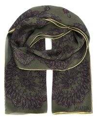 Valentino - Green Floral Lace Print Scarf - Lyst