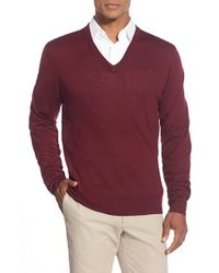 Brooks Brothers - Red 'saxxon' V-neck Sweater for Men - Lyst