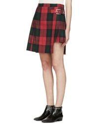 Versus - Green Asymmetric Plaid Skirt - Lyst