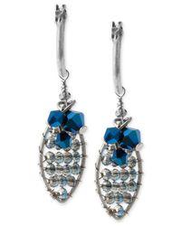 Kenneth Cole | Silver-tone Woven Blue Bead Drop Earrings | Lyst
