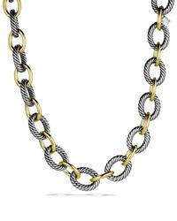 "David Yurman - Metallic Oval Extra-large Link Necklace With Gold, 17"" - Lyst"