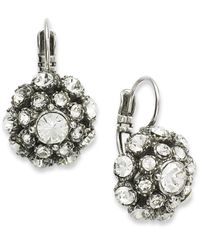 kate spade new york - Metallic Antique Silver-Tone Crystal Ball Leverback Drop Earrings - Lyst