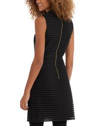 Oasis | Black Stripe Mesh High Neck Dress | Lyst