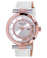 Kenneth Cole - Pink Crystal Accent Leather Strap Watch - Lyst