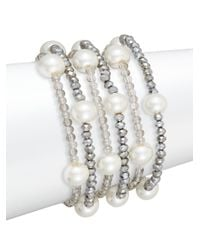 Saks Fifth Avenue | Metallic Beaded Simulated Pearl Multi-row Bracelet | Lyst