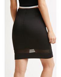 Forever 21 - Black Mesh-paneled Pencil Skirt - Lyst